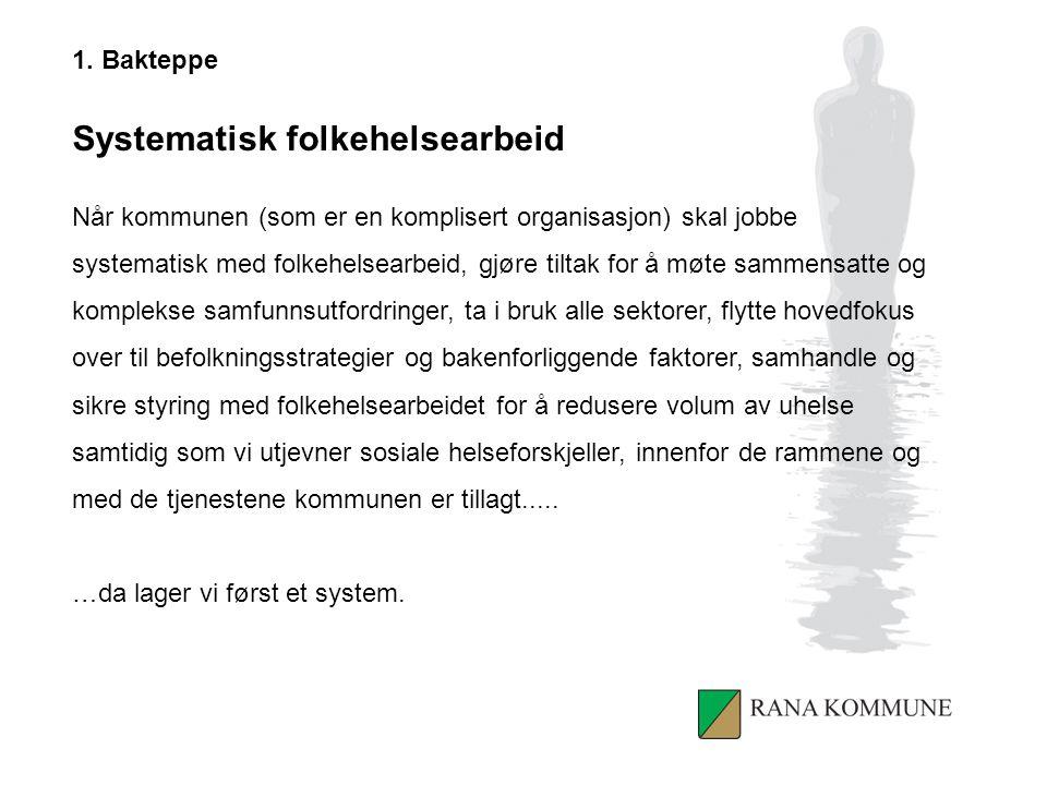 1. Bakteppe Systematisk folkehelsearbeid Når kommunen (som er en komplisert organisasjon) skal jobbe systematisk med folkehelsearbeid, gjøre tiltak fo