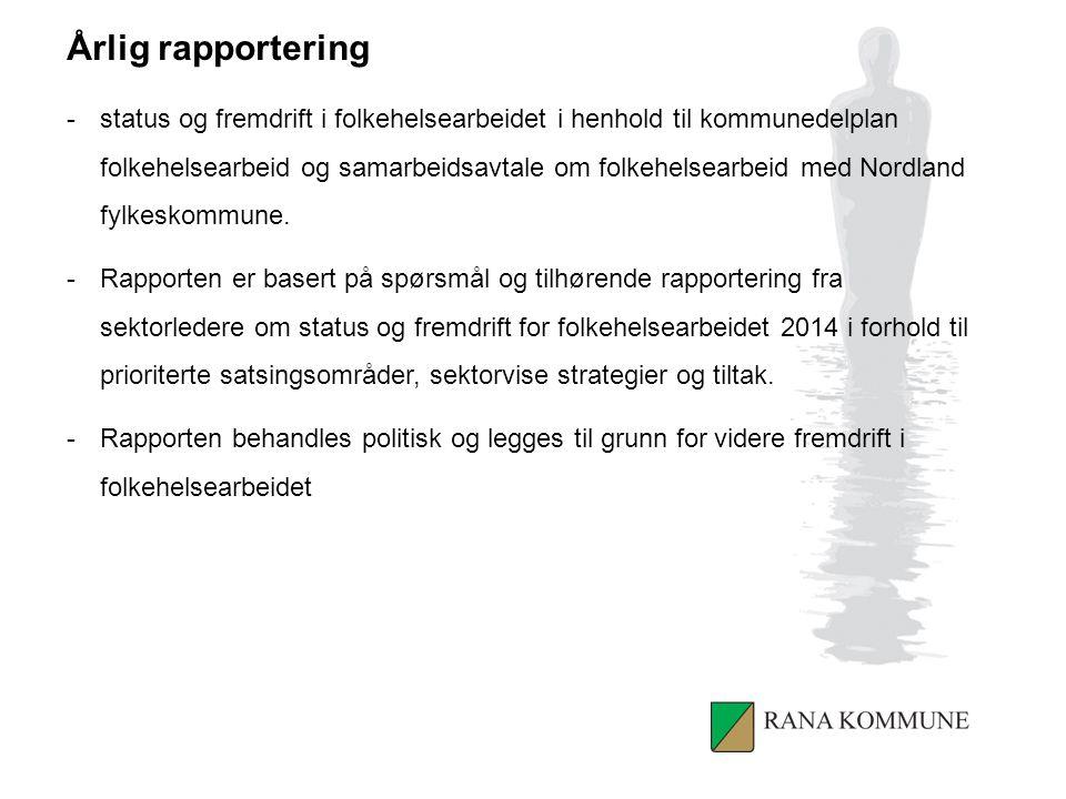KUNNSKAPSGRUNNLAG Helseoversikt og identifiserte hovedutfordringer FOLKEHELSEPLAN Strategisk plan for iverksetting av kommunens folkehelsearbeid PLANSTYRT FOLKEHELSEARBEID Implementere folkehelsemål, strategier og tiltak i plansystem, virksomhetsplaner og internkontrollsystem RAPPORTERING Rapportering om måloppnåelse, status og fremdrift fra sektorer LØPENDE OVERSIKTSARBEID STYRINGSGRUPPE JUSTERINGER.