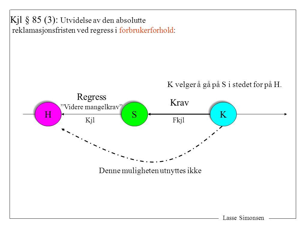 """Lasse Simonsen H H S S K K Kjl § 85 (3): Utvidelse av den absolutte reklamasjonsfristen ved regress i forbrukerforhold: Krav Regress """"Videre mangelkra"""