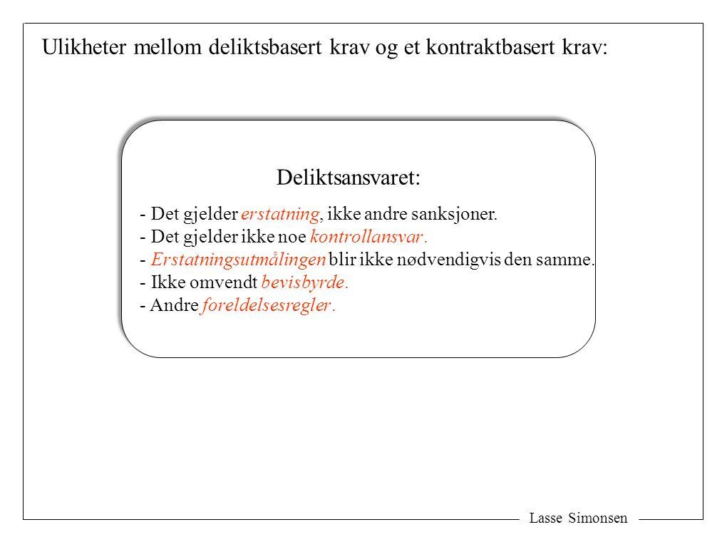 Ulikheter mellom deliktsbasert krav og et kontraktbasert krav: Lasse Simonsen Deliktsansvaret: - Det gjelder erstatning, ikke andre sanksjoner. - Det