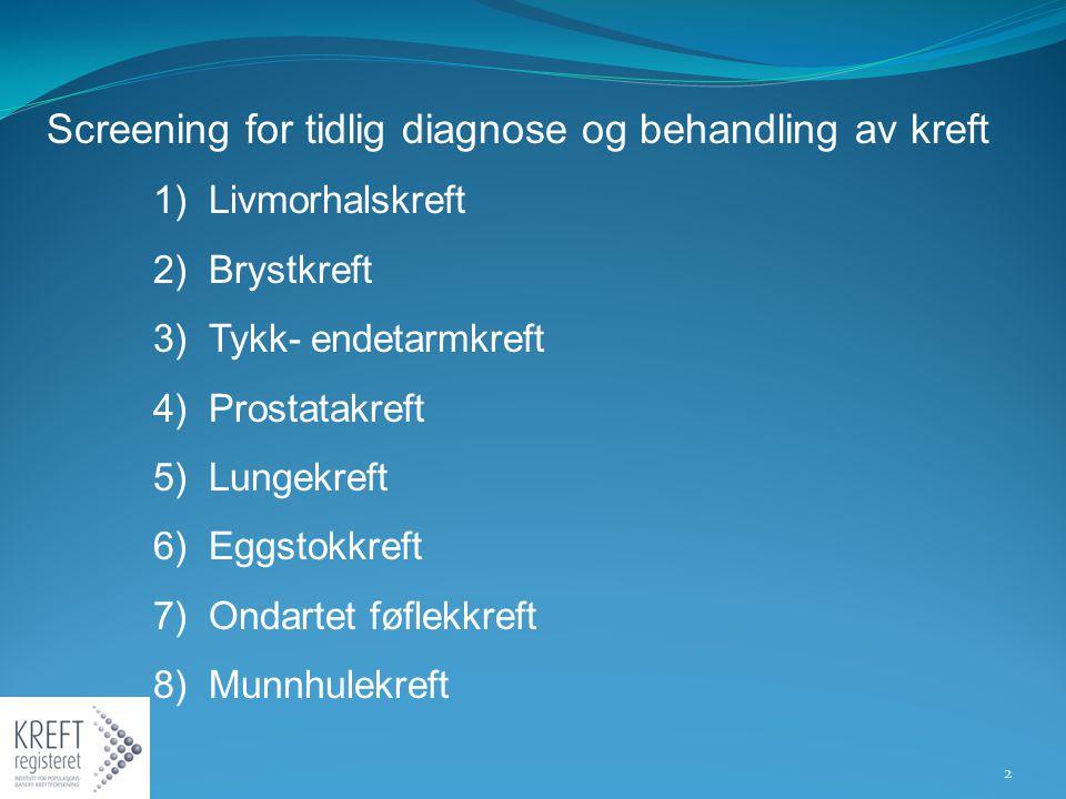 Screening for tidlig diagnose og behandling av kreft 1) Livmorhalskreft 2) Brystkreft 3) Tykk- endetarmkreft 4) Prostatakreft 5) Lungekreft 6) Eggstok