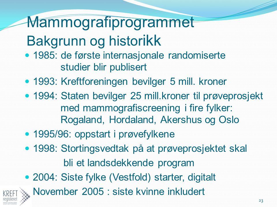 Mammografiprogrammet Bakgrunn og histor ikk 1985: de første internasjonale randomiserte studier blir publisert 1993: Kreftforeningen bevilger 5 mill.