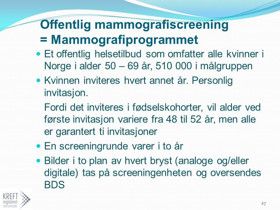 Offentlig mammografiscreening = Mammografiprogrammet Et offentlig helsetilbud som omfatter alle kvinner i Norge i alder 50 – 69 år, 510 000 i målgrupp