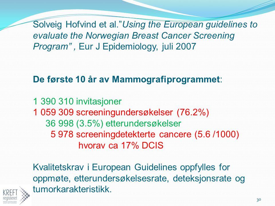 """Solveig Hofvind et al.""""Using the European guidelines to evaluate the Norwegian Breast Cancer Screening Program"""", Eur J Epidemiology, juli 2007 De førs"""