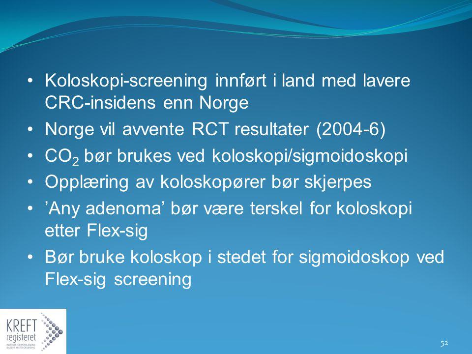 Koloskopi-screening innført i land med lavere CRC-insidens enn Norge Norge vil avvente RCT resultater (2004-6) CO 2 bør brukes ved koloskopi/sigmoidos