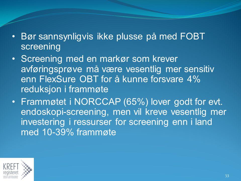 Bør sannsynligvis ikke plusse på med FOBT screening Screening med en markør som krever avføringsprøve må være vesentlig mer sensitiv enn FlexSure OBT