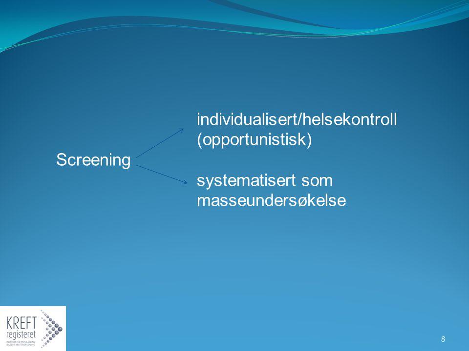 individualisert/helsekontroll (opportunistisk) Screening systematisert som masseundersøkelse 8