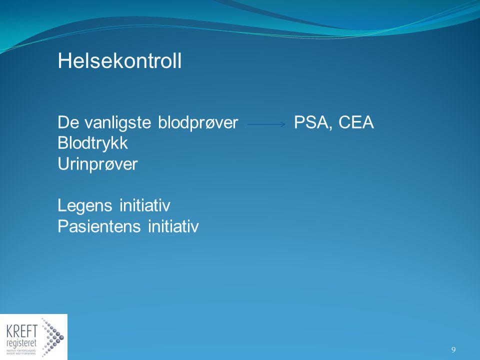 Helsekontroll De vanligste blodprøver PSA, CEA Blodtrykk Urinprøver Legens initiativ Pasientens initiativ 9