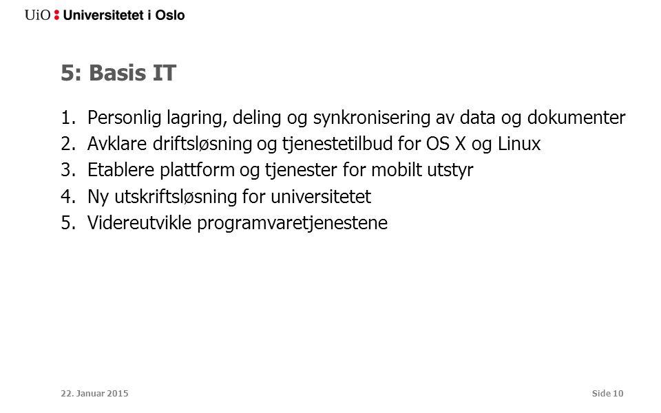 5: Basis IT 1.Personlig lagring, deling og synkronisering av data og dokumenter 2.Avklare driftsløsning og tjenestetilbud for OS X og Linux 3.Etablere plattform og tjenester for mobilt utstyr 4.Ny utskriftsløsning for universitetet 5.Videreutvikle programvaretjenestene 22.