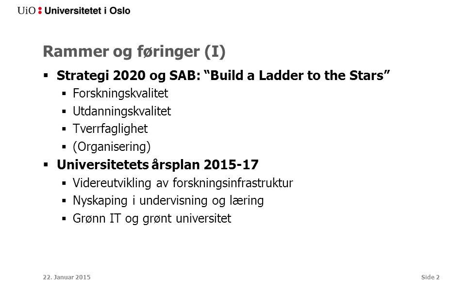 Rammer og føringer (I)  Strategi 2020 og SAB: Build a Ladder to the Stars  Forskningskvalitet  Utdanningskvalitet  Tverrfaglighet  (Organisering)  Universitetets årsplan 2015-17  Videreutvikling av forskningsinfrastruktur  Nyskaping i undervisning og læring  Grønn IT og grønt universitet 22.