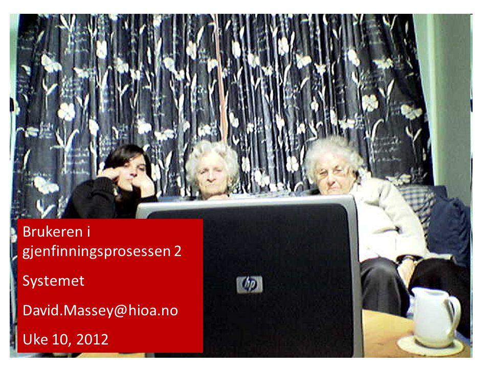 Brukeren i gjenfinningsprosessen 2 Systemet David.Massey@hioa.no Uke 10, 2012