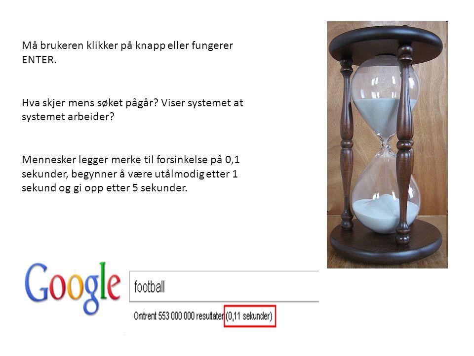 Må brukeren klikker på knapp eller fungerer ENTER.