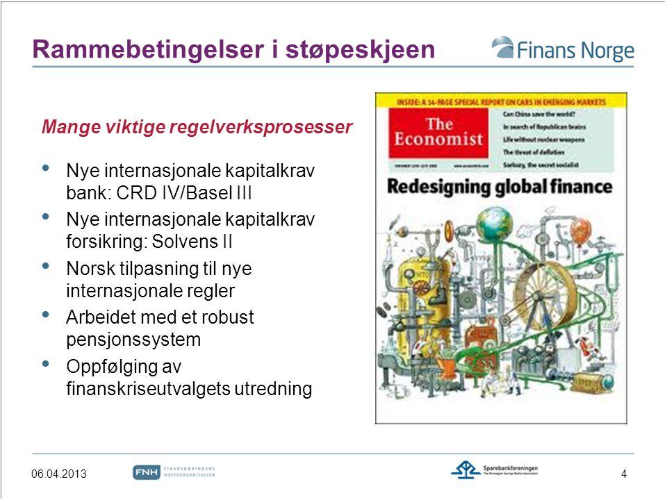 Rammebetingelser i støpeskjeen Nye internasjonale kapitalkrav bank: CRD IV/Basel III Nye internasjonale kapitalkrav forsikring: Solvens II Norsk tilpa