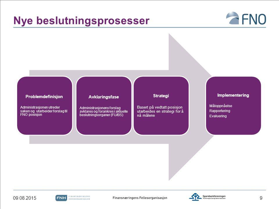 Nye beslutningsprosesser Problemdefinisjon Administrasjonen utreder saken og utarbeider forslag til FNO posisjon Avklaringsfase Administrasjonens forslag avklares og forankres i aktuelle beslutningsorganer (FU/BS) Strategi Basert på vedtatt posisjon utarbeides en strategi for å nå målene Implementering Måloppnåelse Rapportering Evaluering 09.08.20159