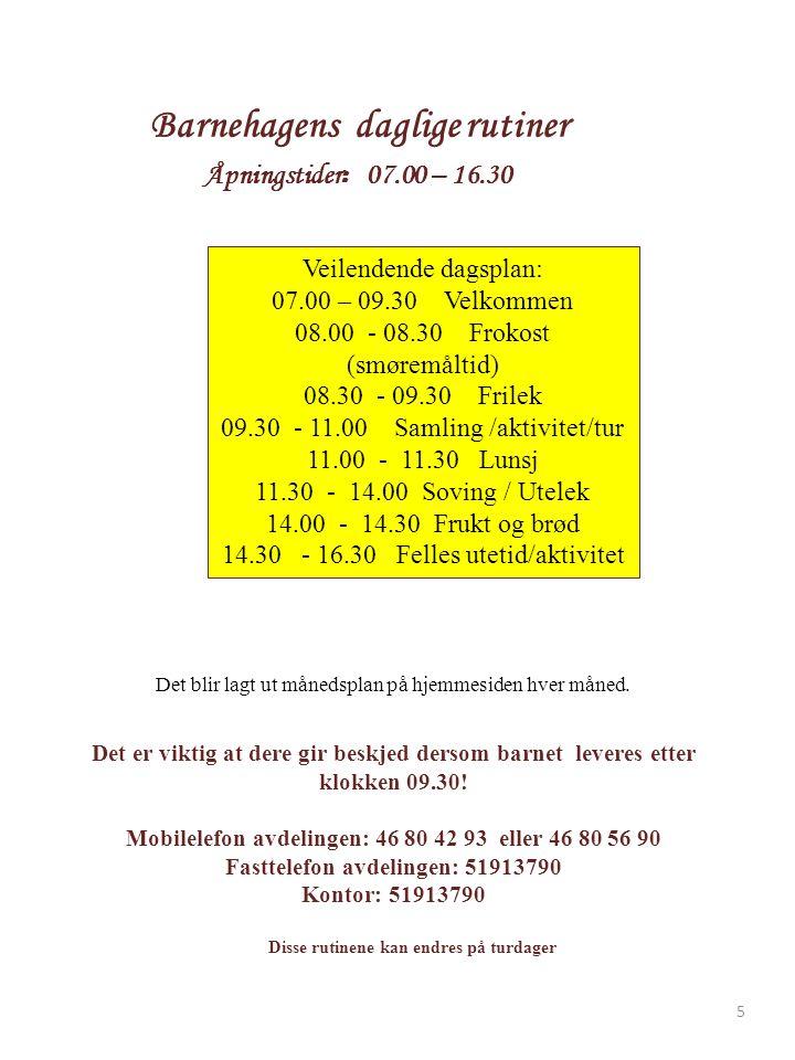 Barnehagens daglige rutiner Åpningstider : 07.00 – 16.30 Det blir lagt ut månedsplan på hjemmesiden hver måned.