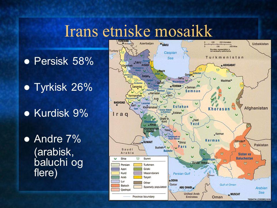 Irans etniske mosaikk Persisk 58% Tyrkisk 26% Kurdisk 9% Andre 7% (arabisk, baluchi og flere)