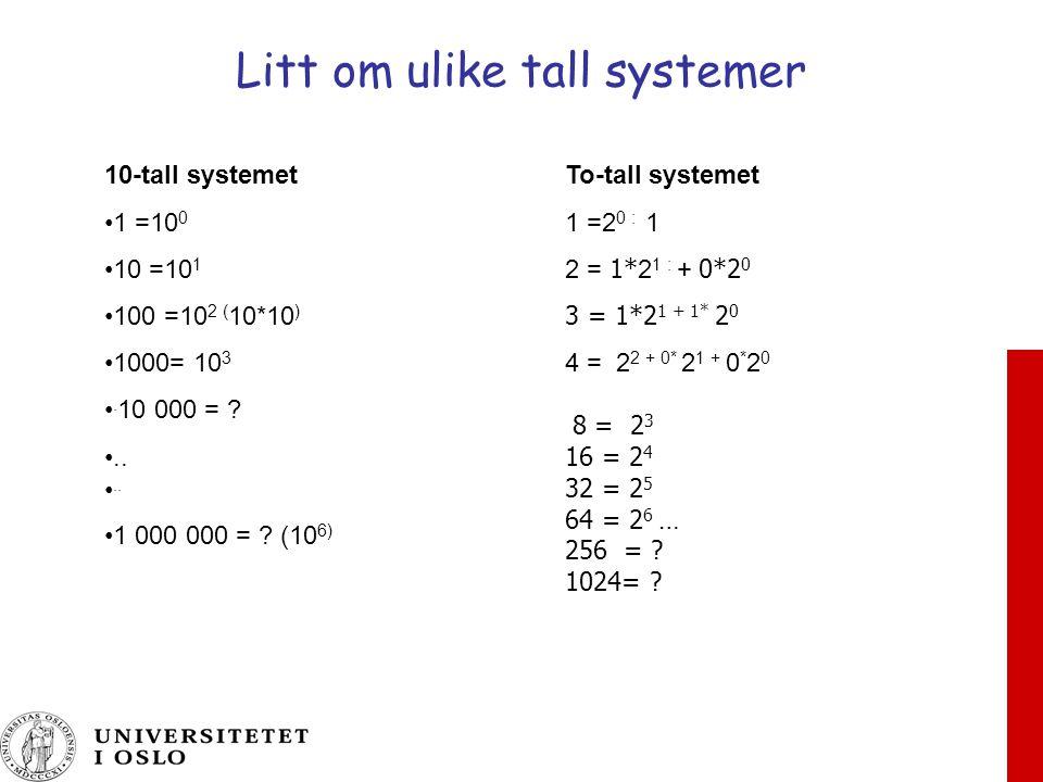 Litt om ulike tall systemer To-tall systemet 1 =2 0 : 1 2 = 1* 2 1 : + 0*2 0 3 = 1*2 1 + 1* 2 0 4 = 2 2 + 0* 2 1 + 0 * 2 0 8 = 2 3 16 = 2 4 32 = 2 5 64 = 2 6 … 256 = .
