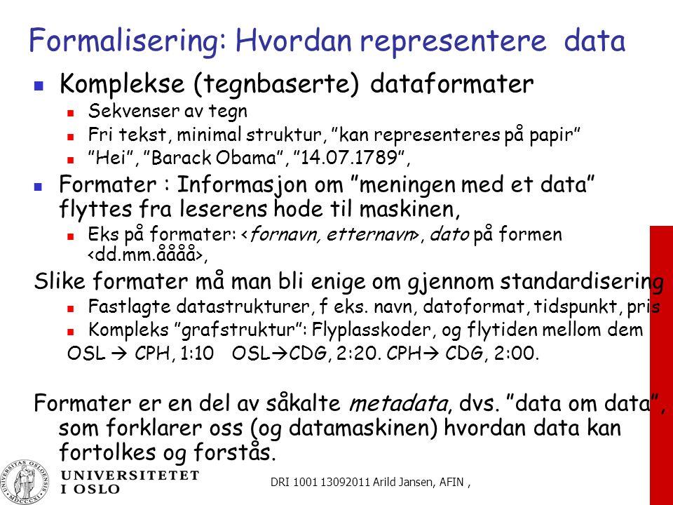 DRI 1001 13092011 Arild Jansen, AFIN, Formalisering: Hvordan representere data Komplekse (tegnbaserte) dataformater Sekvenser av tegn Fri tekst, minimal struktur, kan representeres på papir Hei , Barack Obama , 14.07.1789 , Formater : Informasjon om meningen med et data flyttes fra leserens hode til maskinen, Eks på formater:, dato på formen, Slike formater må man bli enige om gjennom standardisering Fastlagte datastrukturer, f eks.