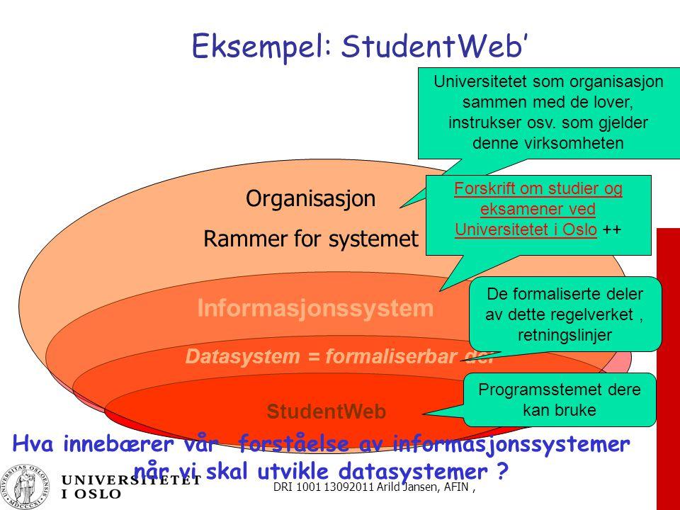DRI 1001 13092011 Arild Jansen, AFIN, Eksempel: StudentWeb' Informasjonssystem Datasystem = formaliserbar del StudentWeb Organisasjon Rammer for systemet Universitetet som organisasjon sammen med de lover, instrukser osv.