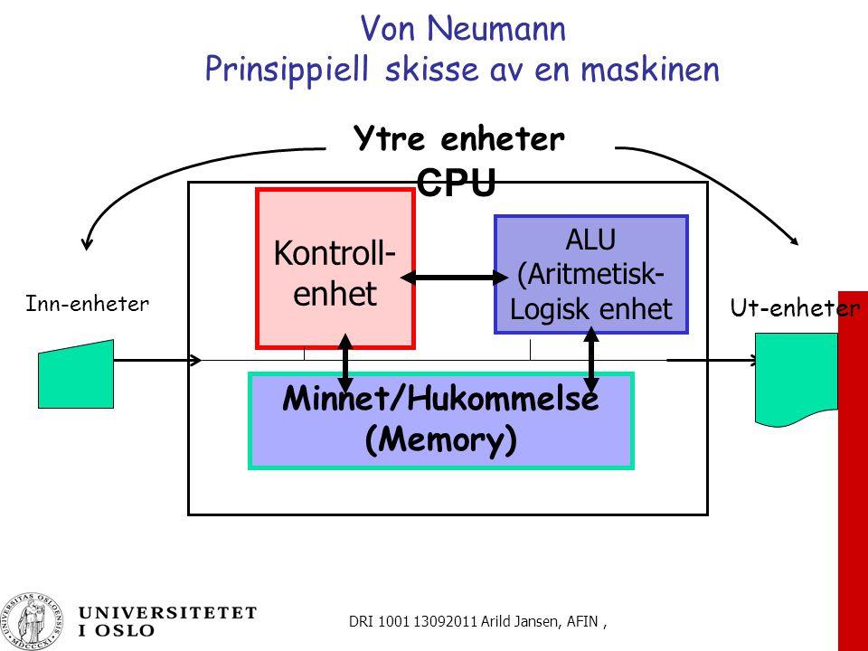 DRI 1001 13092011 Arild Jansen, AFIN, Von Neumann Prinsippiell skisse av en maskinen ALU (Aritmetisk- Logisk enhet Minnet/Hukommelse (Memory) Kontroll- enhet Inn-enheter Ut-enheter Ytre enheter CPU