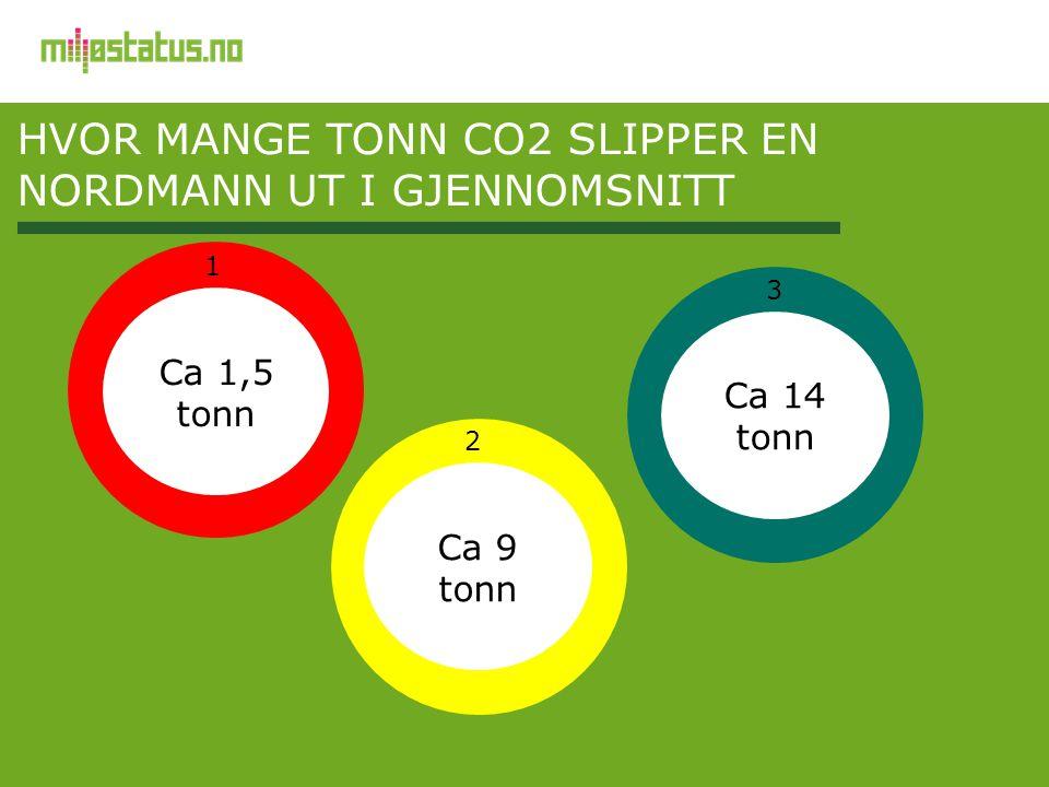 HVOR MANGE TONN CO2 SLIPPER EN NORDMANN UT I GJENNOMSNITT Ca 1,5 tonn Ca 9 tonn Ca 14 tonn 1 2 3