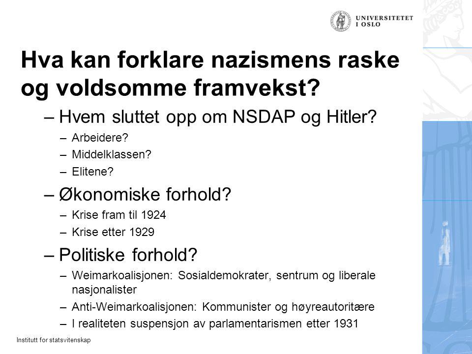 Institutt for statsvitenskap Hva kan forklare nazismens raske og voldsomme framvekst? –Hvem sluttet opp om NSDAP og Hitler? –Arbeidere? –Middelklassen