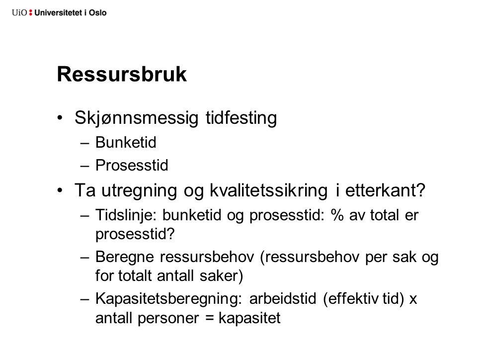 Ressursbruk Skjønnsmessig tidfesting –Bunketid –Prosesstid Ta utregning og kvalitetssikring i etterkant.
