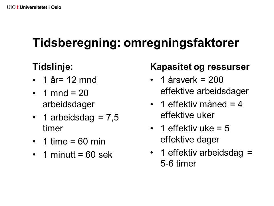 Tidsberegning: omregningsfaktorer Tidslinje: 1 år= 12 mnd 1 mnd = 20 arbeidsdager 1 arbeidsdag = 7,5 timer 1 time = 60 min 1 minutt = 60 sek Kapasitet