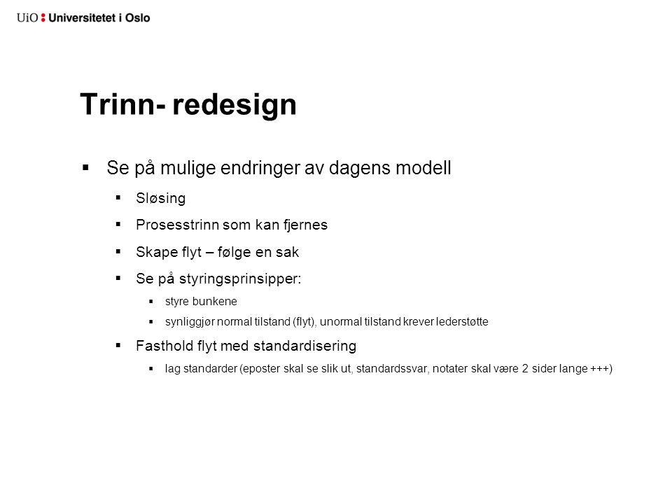 Trinn- redesign  Se på mulige endringer av dagens modell  Sløsing  Prosesstrinn som kan fjernes  Skape flyt – følge en sak  Se på styringsprinsip