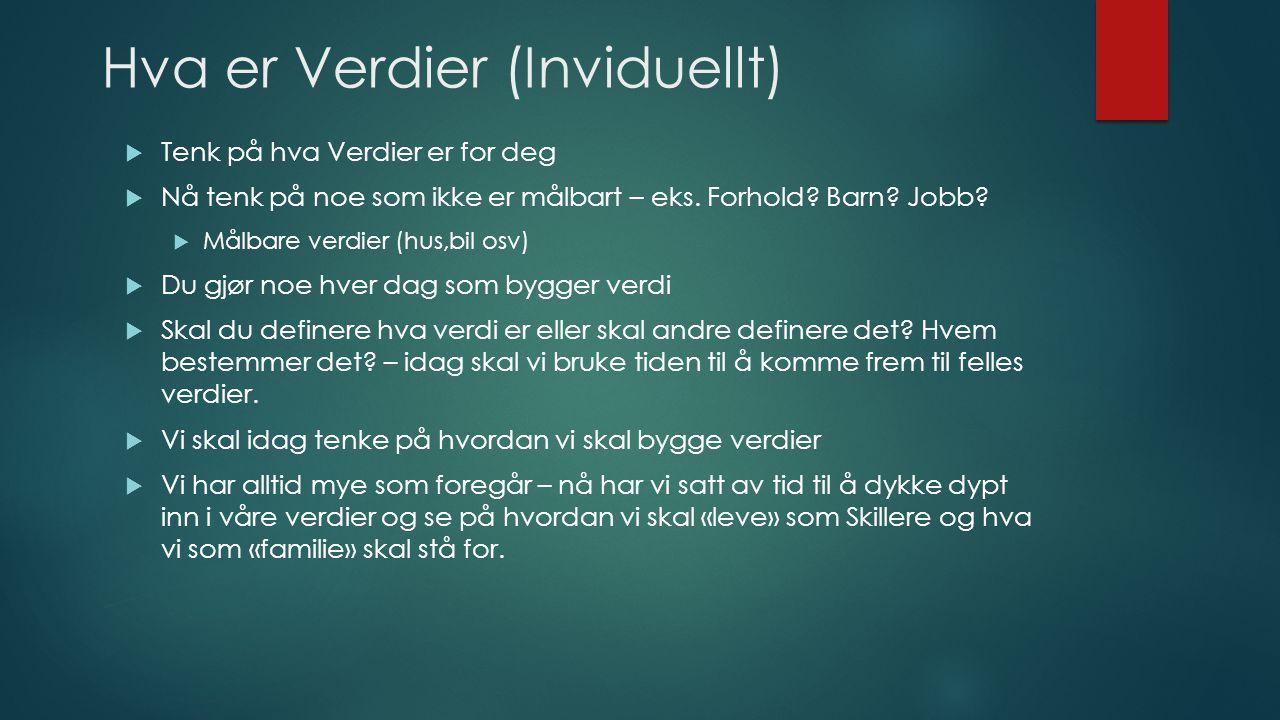 Hva er Verdier (Inviduellt)  Tenk på hva Verdier er for deg  Nå tenk på noe som ikke er målbart – eks. Forhold? Barn? Jobb?  Målbare verdier (hus,b