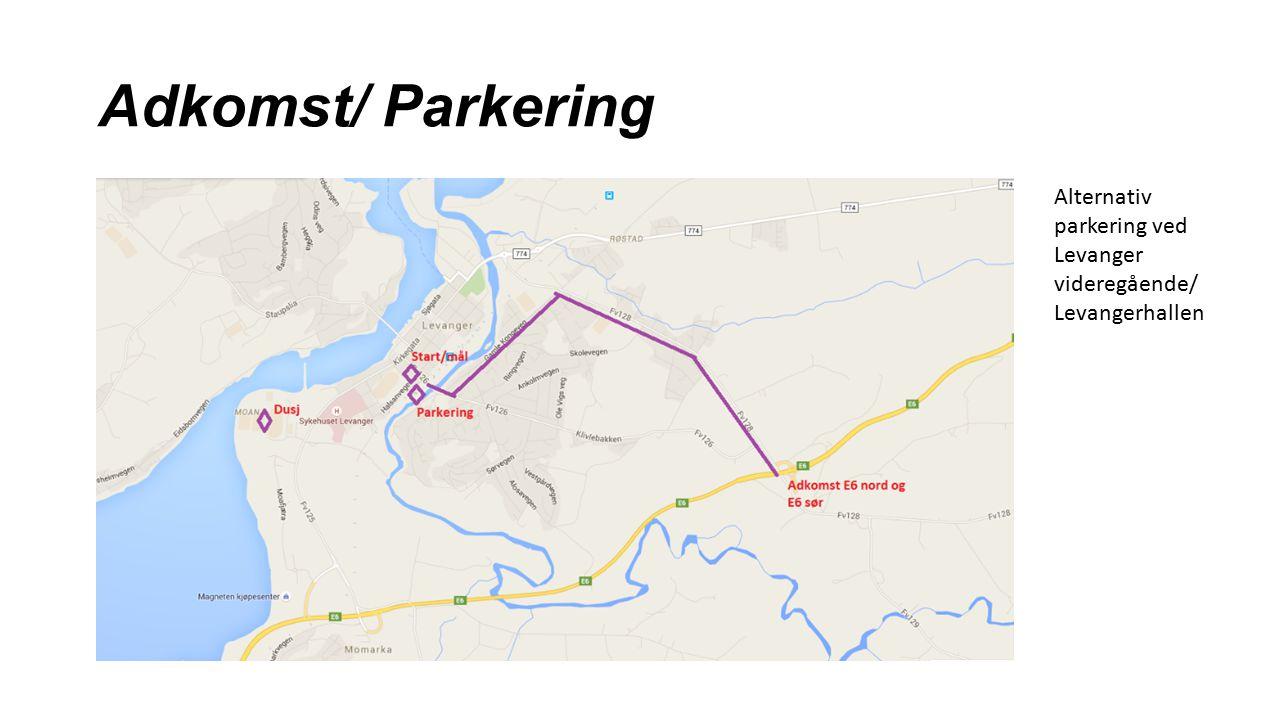 Adkomst/ Parkering Alternativ parkering ved Levanger videregående/ Levangerhallen