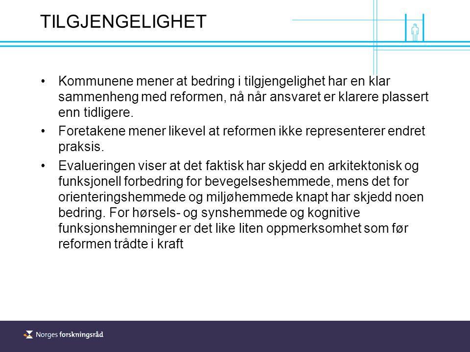 TILGJENGELIGHET Kommunene mener at bedring i tilgjengelighet har en klar sammenheng med reformen, nå når ansvaret er klarere plassert enn tidligere.