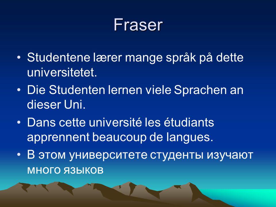 Fraser Studentene lærer mange språk på dette universitetet. Die Studenten lernen viele Sprachen an dieser Uni. Dans cette université les étudiants app