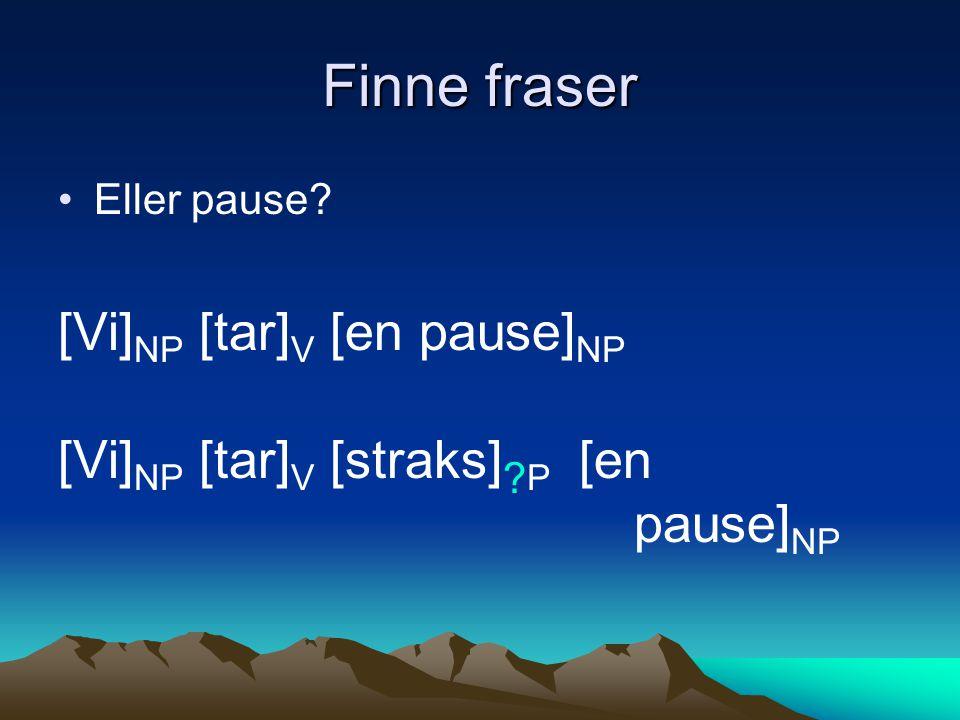 Finne fraser Eller pause? [Vi] NP [tar] V [en pause] NP [Vi] NP [tar] V [straks] ? P [en pause] NP