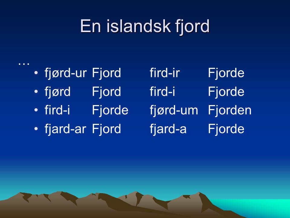 En islandsk fjord … fjørd-urFjordfird-irFjorde fjørdFjordfird-iFjorde fird-iFjordefjørd-umFjorden fjard-arFjordfjard-a Fjorde