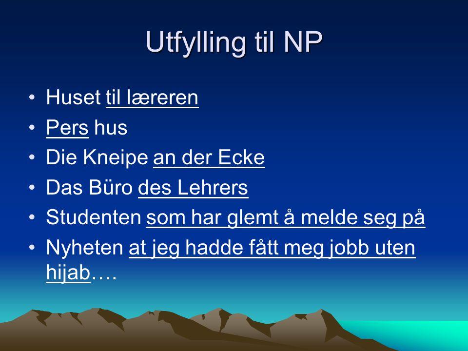 Utfylling til NP Huset til læreren Pers hus Die Kneipe an der Ecke Das Büro des Lehrers Studenten som har glemt å melde seg på Nyheten at jeg hadde få