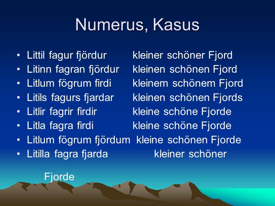 Numerus, Kasus Littil fagur fjördur kleiner schöner Fjord Litinn fagran fjördur kleinen schönen Fjord Litlum fögrum firdi kleinem schönem Fjord Litils