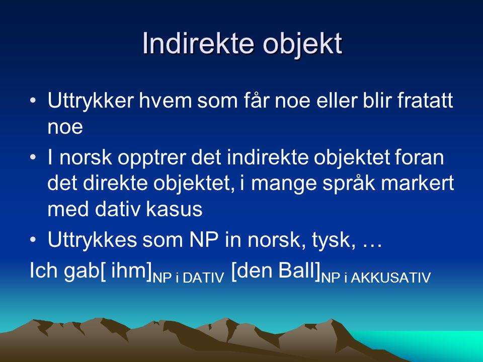 Indirekte objekt Uttrykker hvem som får noe eller blir fratatt noe I norsk opptrer det indirekte objektet foran det direkte objektet, i mange språk ma