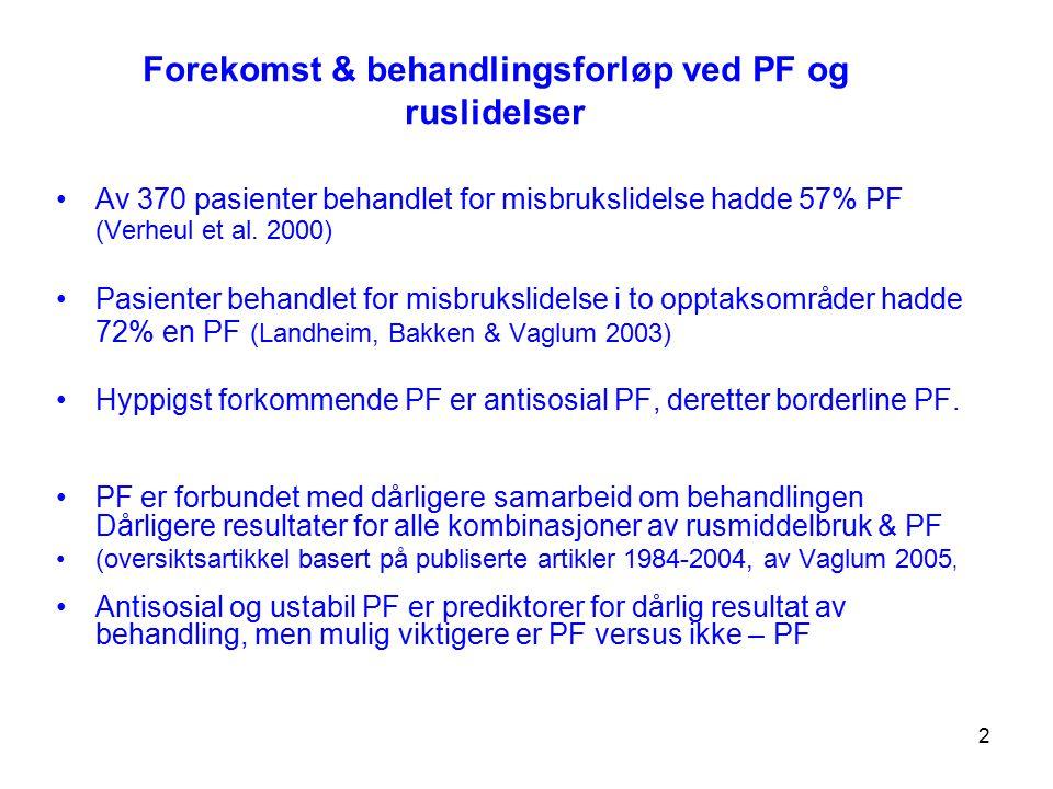 2 Forekomst & behandlingsforløp ved PF og ruslidelser Av 370 pasienter behandlet for misbrukslidelse hadde 57% PF (Verheul et al. 2000) Pasienter beha