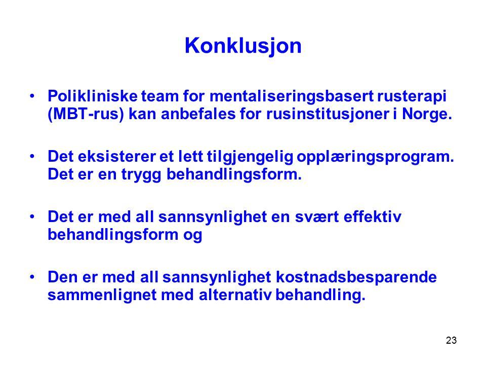 23 Konklusjon Polikliniske team for mentaliseringsbasert rusterapi (MBT-rus) kan anbefales for rusinstitusjoner i Norge. Det eksisterer et lett tilgje