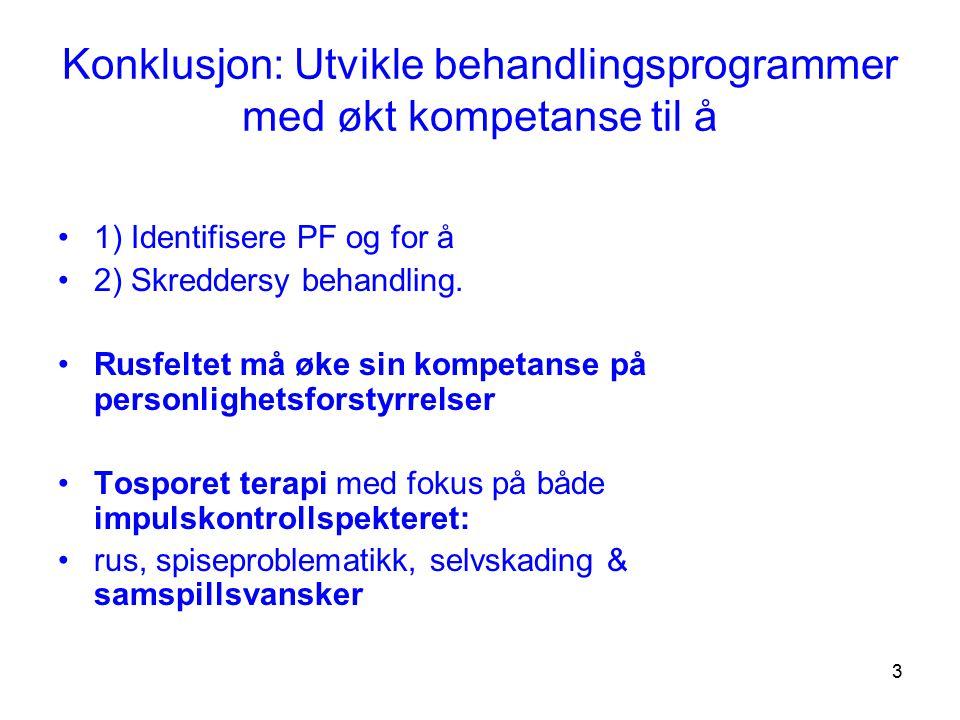 3 Konklusjon: Utvikle behandlingsprogrammer med økt kompetanse til å 1) Identifisere PF og for å 2) Skreddersy behandling. Rusfeltet må øke sin kompet