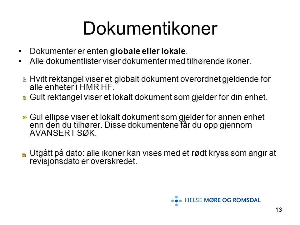 13 Dokumentikoner Dokumenter er enten globale eller lokale.