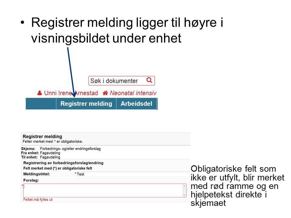 Registrer melding ligger til høyre i visningsbildet under enhet Obligatoriske felt som ikke er utfylt, blir merket med rød ramme og en hjelpetekst direkte i skjemaet