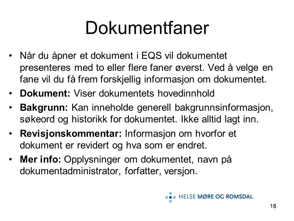 16 Når du åpner et dokument i EQS vil dokumentet presenteres med to eller flere faner øverst. Ved å velge en fane vil du få frem forskjellig informasj