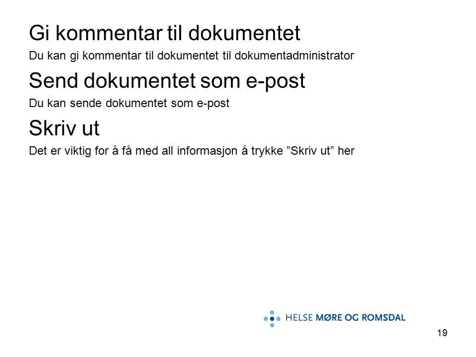19 Gi kommentar til dokumentet Du kan gi kommentar til dokumentet til dokumentadministrator Send dokumentet som e-post Du kan sende dokumentet som e-post Skriv ut Det er viktig for å få med all informasjon å trykke Skriv ut her