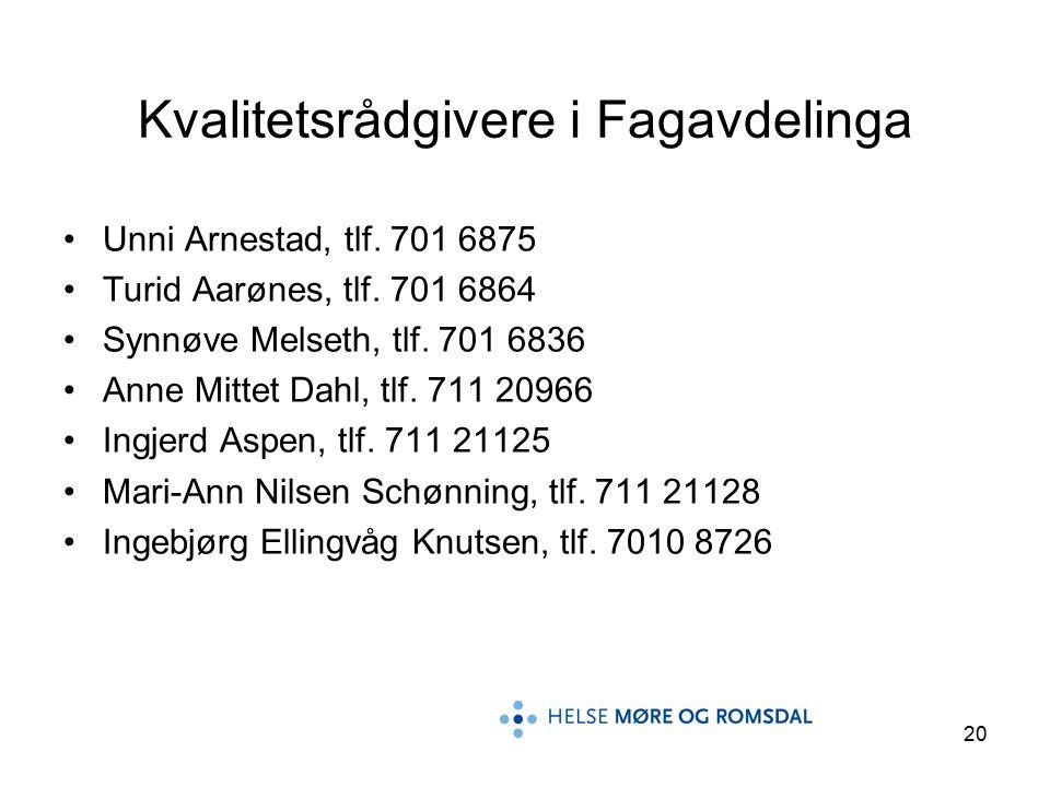 20 Kvalitetsrådgivere i Fagavdelinga Unni Arnestad, tlf. 701 6875 Turid Aarønes, tlf. 701 6864 Synnøve Melseth, tlf. 701 6836 Anne Mittet Dahl, tlf. 7