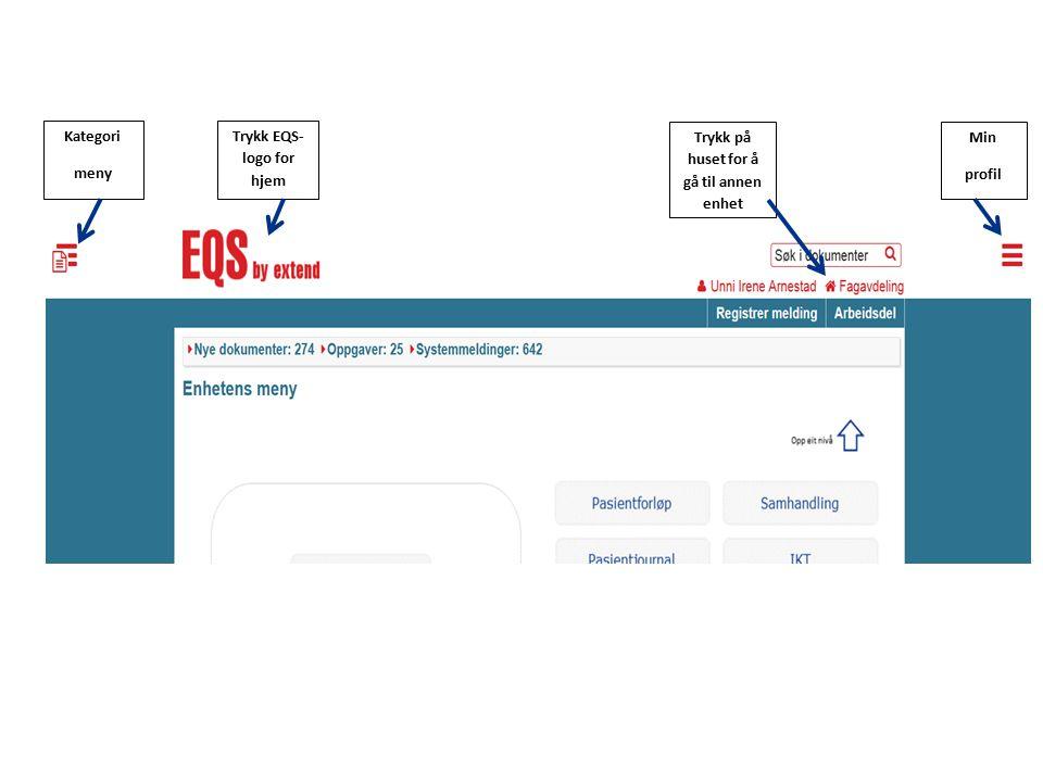 Dokumentkategorimeny er skjult i visningsbildet, men åpner seg ved å trykke på ikonet øverst til høyre i visningsbildet.
