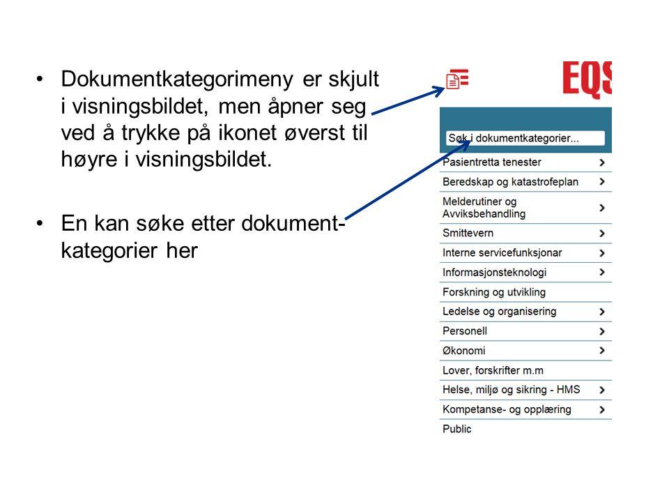 Dokumentkategorimeny er skjult i visningsbildet, men åpner seg ved å trykke på ikonet øverst til høyre i visningsbildet. En kan søke etter dokument- k