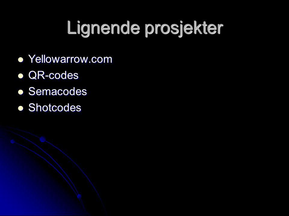 Lignende prosjekter Yellowarrow.com Yellowarrow.com QR-codes QR-codes Semacodes Semacodes Shotcodes Shotcodes