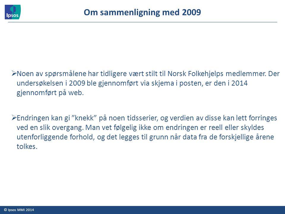 © Ipsos MMI 2014  Noen av spørsmålene har tidligere vært stilt til Norsk Folkehjelps medlemmer. Der undersøkelsen i 2009 ble gjennomført via skjema i